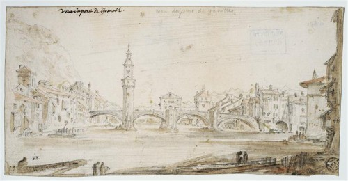 Israël Silvestre, Vue du pont de Grenoble, XVIIe siècle, encre brune, plume, pointe de plomb et aquarelle sur papier, 10 x 21 cm, Paris, musée du Louvre.