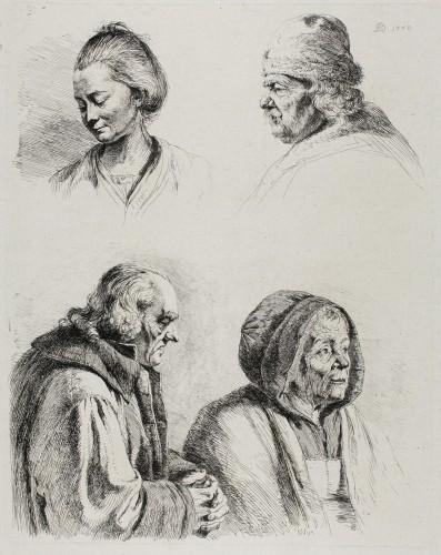 Feuille d'étude, Quatre têtes, 1770