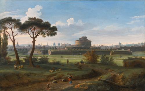 Gaspar van Wittel dit Vanvitelli, Rome. Le Château Saint Ange vu de Prati, 1736, huile sur toile, 42,5 x 67 cm.