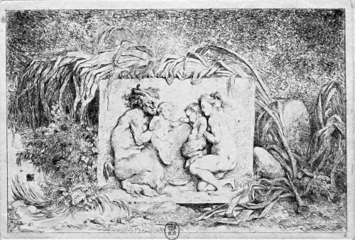 Jean-Honoré Fragonard, Jeux de satyres. La Famille du satyre, vers 1763, eau-forte, 14 x 21 cm, Paris, Bibliothèque nationale de France, département des Estampes et de la Photographie.