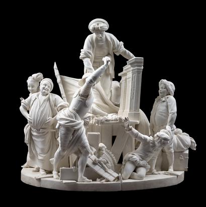 Sous la direction de Bachelier d'après Coypel, Don Quichotte combat le château des marionnettes, 1771, biscuit de porcelaine tendre, 36,5 x 39 x 34,8 cm, Sèvres, Cité de la céramique, Musée national de céramique.