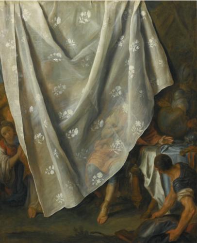 Pietro Antonio Rotari, Rencontre d'Alexandre le Grand et de Roxane, derrière un rideau en trompe l'œil, 1753 – 1754, huile sur toile, 83,1 x 68 cm.