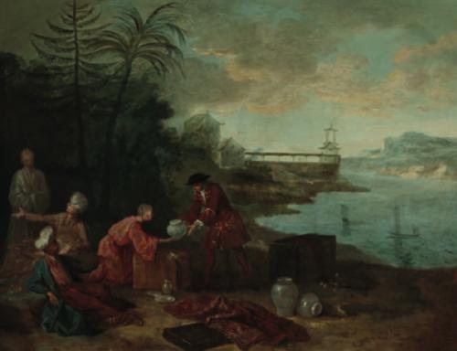 Jean-Baptiste Oudry, Les quatre parties du monde :  l'Asie, 1724, huile sur toile, 92 x 116,5 cm, signé et daté, marché de l'art.