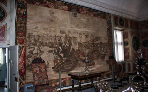 Berent van der Eichen et Anton Steenwicnkel, La bataille d'Øland en 1676, 1685-1693, tapisserie en laine, ca. 3,7 x ca. 5,1, Copenhague, château de Rosenborg.