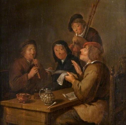 Klaes Molenaer, Les Musiciens, s.d., huile sur toile, 19.7 x 20.3 cm, Kelvingrove Art Gallery and Museum. (c) Glasgow Museums