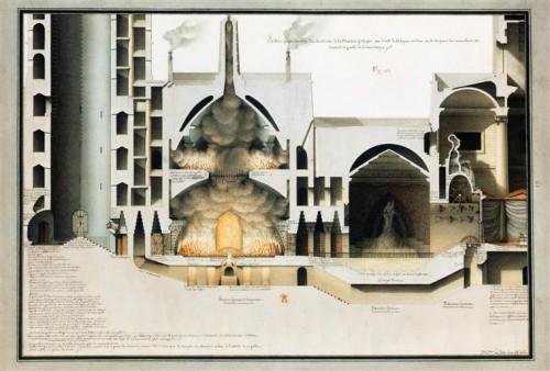 Jean-Jacques Lequeu, Section perpendiculaire d'un souterrain de la maison gothique, ca. 1777-1814, aquarelle et lavis de plume sur papier, 36 x 51 cm, Paris, Bibliothèque nationale de France.