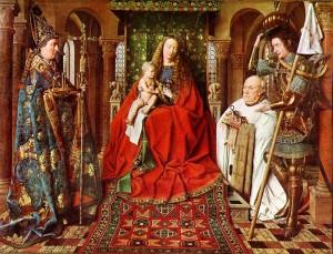 Yan van EYCK, La Vierge au chanoine de Van der Paele, (122 x 157 cm), Groeninge Museum, Bruges, Belgique L'un des trois panneaux de Van Eyck saisis en Belgique. Arrivé de Bruges par le sixième envoi, il fa