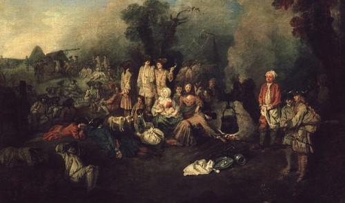 Jean-Antoine Watteau, Camp volant, huile sur toile, 1710-1711, Moscou, Musée des Beaux-Arts Pouchkine.