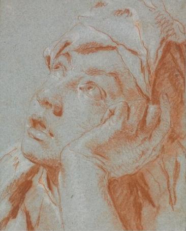 Giovanni Battista Tiepolo, Tête de garçon regardant vers le haut, dessin, 24.9 x 20.2 cm