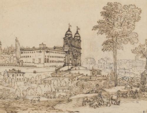 Claude Gellée dit Le Lorrain, Eglise de la Trinité des Monts à Rome, dessin, 19.2 x 24.8 cm.