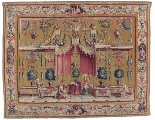Grotesques : Musiciens et danseurs, 1688 – 1732, tapisserie de la manufacture de Beauvais, 307 x 392 cm.