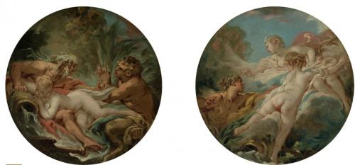 François Boucher, Pan and Syrinx, Alphée et Arethuse, vers 1761, huile sur toile, 27.3 x 27 cm chacun.
