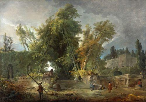 fig. 7. Hubert Robert, Jardin d'une villa italienne, 1764, huile sur toile, 99 x 133 cm, Ottawa, musée des Beaux-Arts du Canada