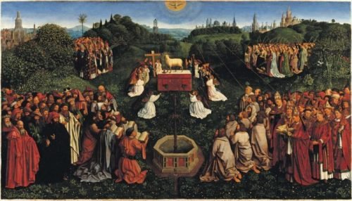 Michael Coxie (1499-1592) d'après Hubert et Jan van Eyck, L'Adoration de l'agneau, 1558, Berlin, Gemäldegalerie.