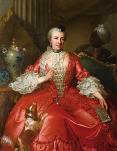 Michel Hubert Descours, Portrait de Marie-Jacqueline Descours (1718 – 1777) dans son intérieur, vers 1740, huile sur toile, 149 x 113 cm