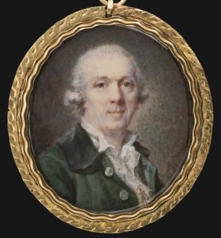 Etienne-Louis Advinent, Portrait d'homme, ca. 1790, aquarelle et gouache sur ivoire, 3,8 x 3,4 cm, The Tansey Miniatures Foundation, Bomann-Museum, Celle.