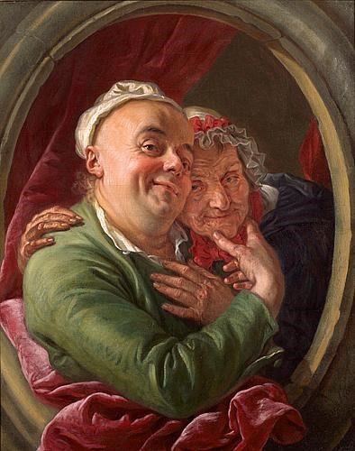 Charles Amédée Philippe Van Loo, L'Artiste et sa mère ?, 1763, huile sur toile, 80 x 64 cm.