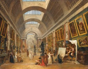Hubert Robert, Projet d'aménagement de la Grande Galerie du Louvre, 1796, huile sur toile, H. 1,12 m x L. 1,43 m, Paris, musée du Louvre.
