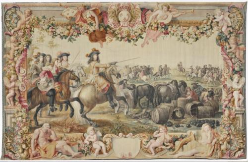 Manufacture des Gobelins, atelier de François Bonnemer, d'après Adam-Frans van der Meulen, Charles Le Brun et François Verdier, La marche de la cavalerie commandée par Condé, tapisserie de peinture, Paris, Mobilier national.