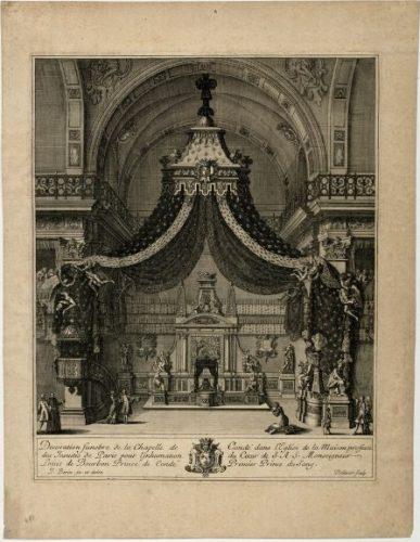 Jean Dolivar d'après Jean I Bérain l'Ancien, Décoration funèbre de la chapelle de Condé dans l'église de la maison professe des jésuites de Paris pour l'inhumation du cœur du Grand Condé en 1687, après 1687, gravure, 47 x 36,2 cm, Versailles, musée national du Château de Versailles et de Trianon.