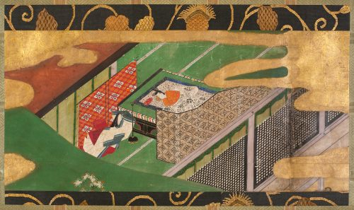 "Atelier de Tawaraya Sōtatsu, Scene from ""The Ivy"" (Yadorigi), chapter 49 of the Tale of Genji, début du XVIIe siècle, encres et or sur papier, 25 x 55 cm, New York, Metropolitan Museum."