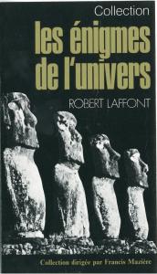"""Dépliant des Editions Robert Laffont présentant la collection """"Les Enigmes de l'Univers"""" dirigée par Francis Mazière."""