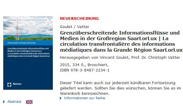La circulation transfrontalière des informations médiatiques dans la Grande Région SaarLorLux