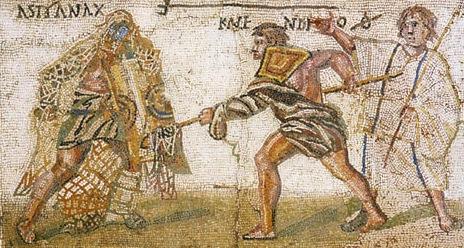 Mosaïque du 4ème siècle après Jésus Christ, exposée au Musée Archéologique de Madrid (source : wikipedia, image dans le domaine public) – registre bas