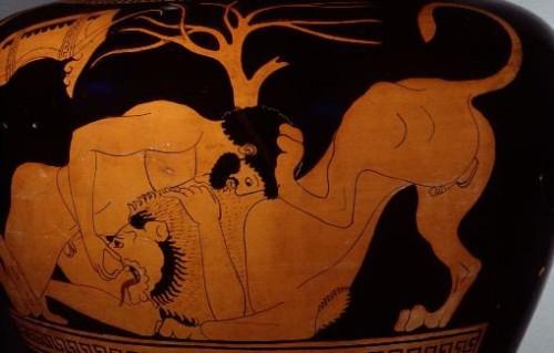 Hercule et le lion de Némée. Stamnos attique (490 av. J.-C.) (M. Daniels, Philadelphie)