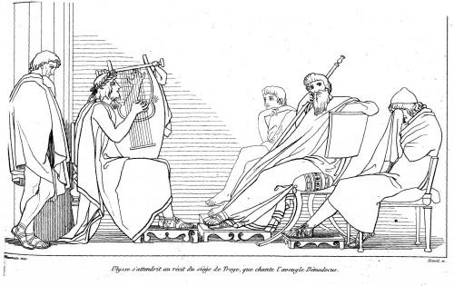 Démodokos chantant devant Ulysse et Alkinoos, illustration de John Flaxman (1810)