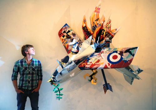 Artist Ian Kirkpatrick pictured with his World War one Sculpture at Colours May Vary. Picture by Simon Hulme (2015).