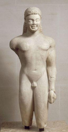 Kouros dit « Kouros de Paros », vers 540 av J.-C., conservé au Musée du Louvre, Paris.