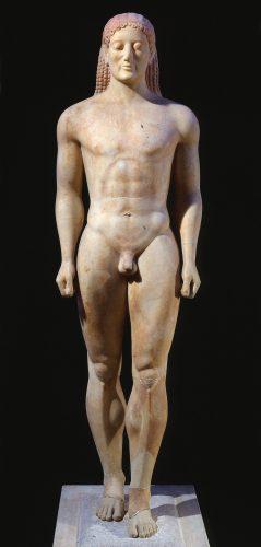Kouros d'Anavyssos, vers 530 av. J.-C., conservé au Musée national d'Athènes.