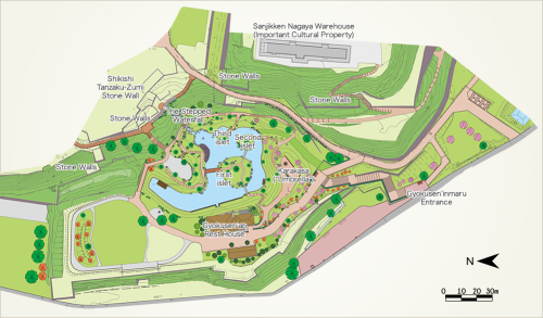 Plan du jardin Gyokusen-in maru