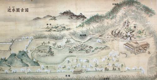 Peinture du jardin Omizuen 近水園古図, au 17ème siècle
