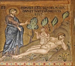 La création d'Ève (mosaïques de la Chapelle palatine, Palerme)