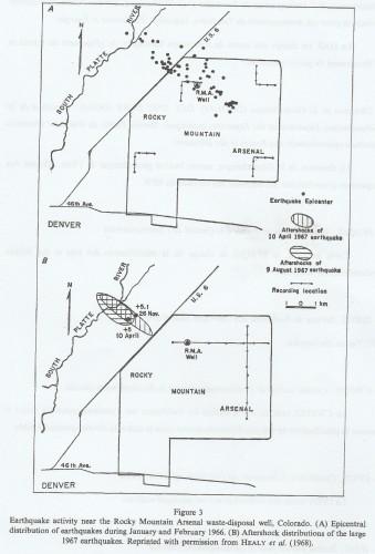 """Figure n° 2: """"Carte de l'activité sismique à proximité du puits d'injection d'eau du Rocky Mountain Arsenal, Colorado en 1967 (Source: NICHOLSON C. et WESSON R.L., """"Triggered Earthquakes and Deep Well Activities"""", in """"PAGEOPH"""", vol. 139, n° 3-4, 1992, p. 568)."""