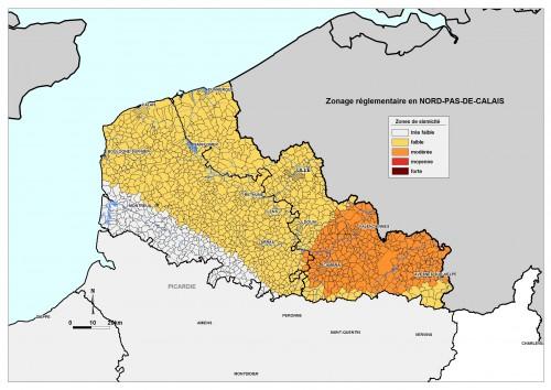Zonage sismique du Nord-Pas de Calais en 2010 (Source: BRGM).