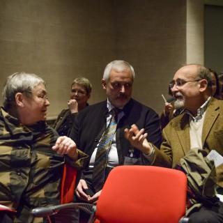 Salvatore Sciarrino (rechts) im Gespräch mit Silke Leopold und Joachim Steinheuer