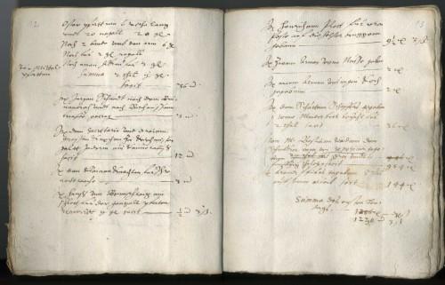 """Kämmereirechnung 1590 (Sta L A 5258). Auf der rechten Seite rechts unten Auszahlungsbeleg für die Anfertigung einer """"repositur""""."""