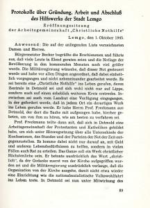 Gründung Hilfswerk Lemgo (aus: Joseph Wiese, Lemgo in schwerer Zeit, 1950)