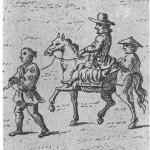 Kaempfer auf einem Pferd sitzend, während der Huldigungsreise an den Hof des Shogun, 1691 (StaL N1_2017, aus: Engelbert Kaempfer: History of Japan, 1727, Tafel 22)