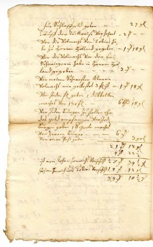 Rechnung über Reisekosten der Brüder Bovenhausen nach Amsterdam (StaL A 5787)
