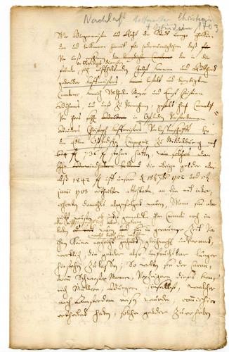 Vollmacht (Konzept) im Fall Balthasar Hoffmeister, 1713 (StaL A 5914)