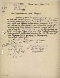 Anfrage des Bildhauers Wolff an den Lemgoer Magistrat, 1916 (StaL B 2080)