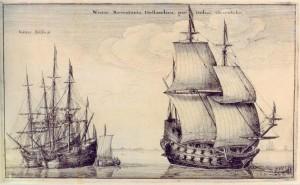Vaclav Hollar, Holländische Handelsschiffe für Ostasien, 1647 (Wenzel Hollar [Public domain], via Wikimedia Commons)