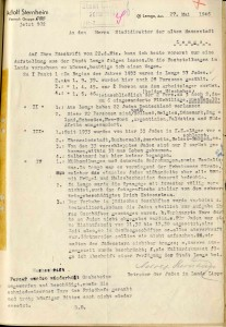 Antworten Adolf Sternheims auf die Anfrage zum Schicksal der Juden (StaL B 2035)