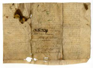 Rückseite Urkunde vom 6. Januar 1540 (StaL U 1023)