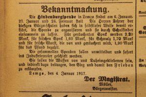 Aufruf zur Hindenburg-Spende in der Lippischen Post vom 5. Januar 1917 (StaL)