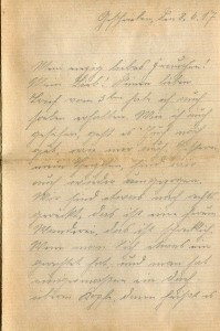 August Jasper an seine Frau Bernhardine, vom 8. Juni 1917; erste Seite.